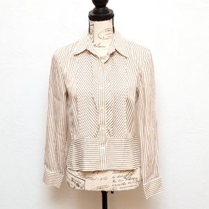 Jones New York Blouse Top Womens S Brown Striped